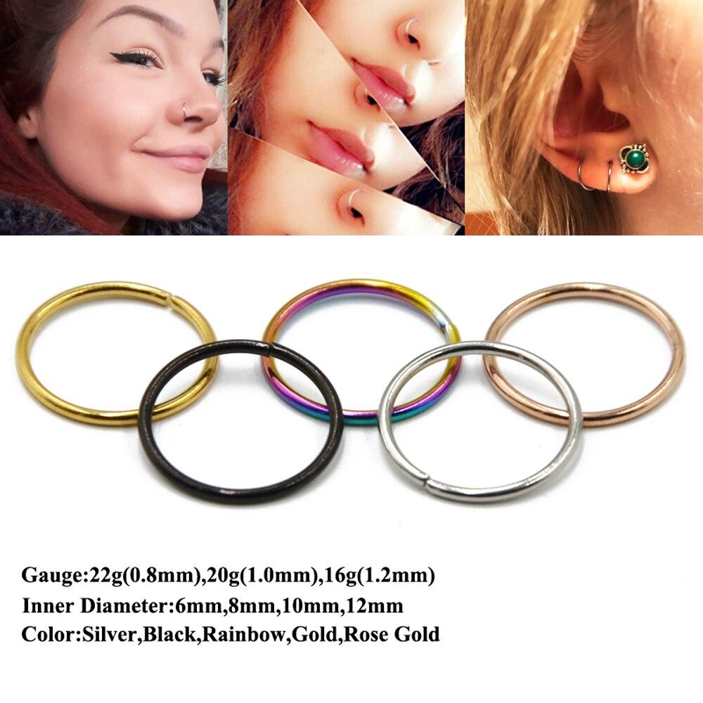 Piercing Ring Nose Rings Hinged Hoop Earrings Surgical Seamless