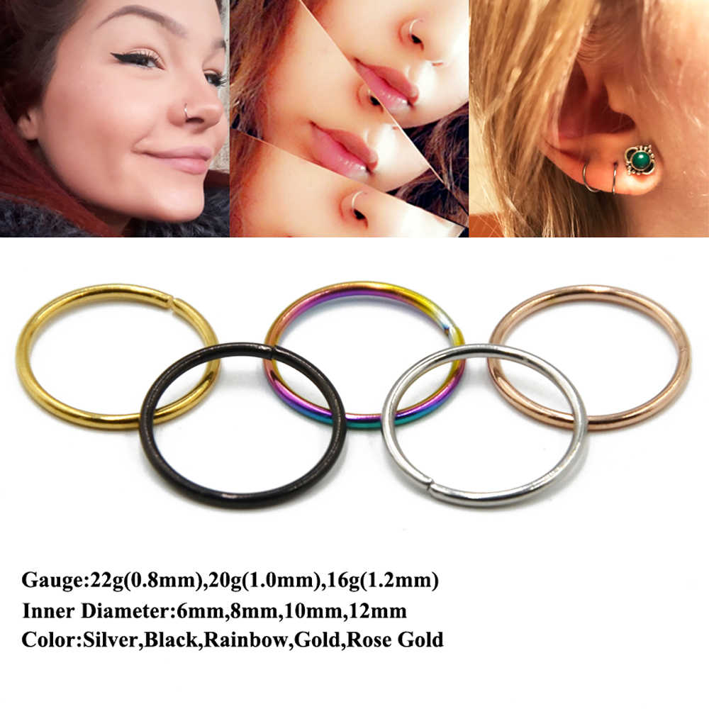 Showlove-1Piece Surgical Steel Bendable Piercing Hoops Nose Ring Ear Cartilage Tragus Helix Seamless Hinged Fashion Body Jewelry