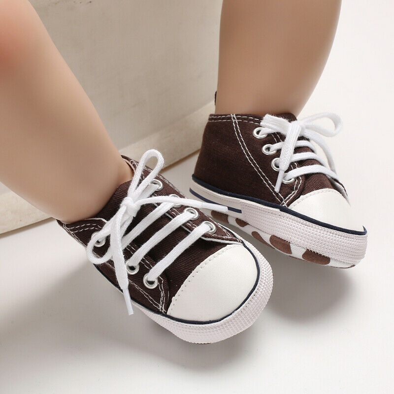Baby Boys Girls Causal Canvas Shoes Soft Soled Newborn Crib Shoes Toddler Infant Pre-Walker 0-18M