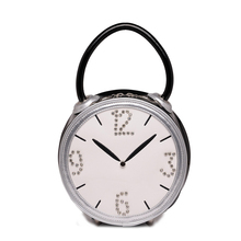 Classic Black and White Cute Alarm Clock Shape Women's Tote Bag Single Shoulder Bag