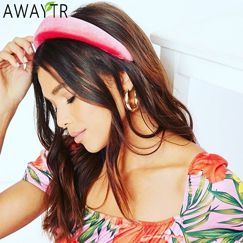 AWAYTR Velvet 4CM Padded Hairband Elastic Headband Girl Wide Plastic Fashion Headwear Head Band Hoop Women For Hair Accessories