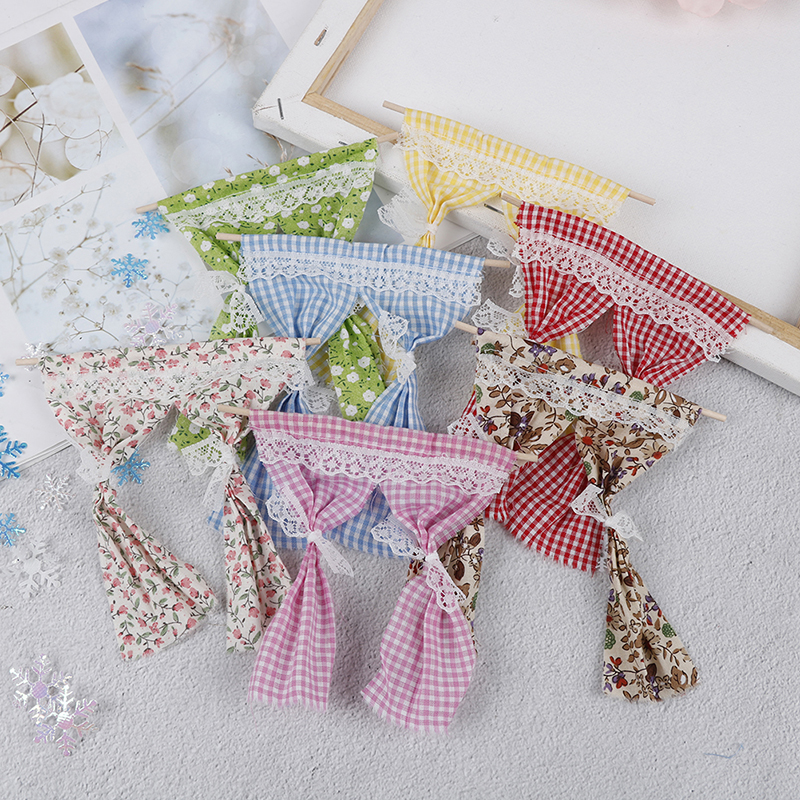Cute Dollhouse Miniatures Lattice And Lace Pink Cotton Curtain For 1:12 Scale Dolls House Bedroom Furniture Decor Acc