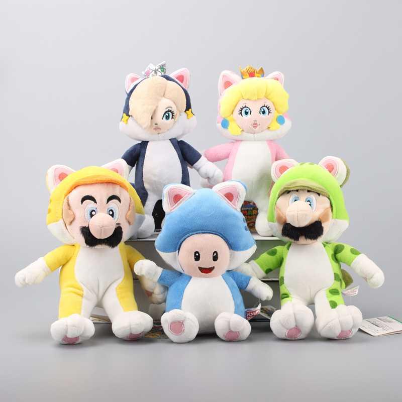 Anime 5 Styles Super Mario 3D World Princess Peach & Rosalina Blue Cat Toad Yellow Cat Plush Soft Toys Stuffed Dolls 18-24 cm
