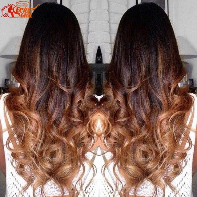 Hot 4 Bundlles Brazilian Body Wave Blonde Ombre Human Hair Extensions T1b 30 7a Virgin Two Toned Brazilian Hair Weave Bundles