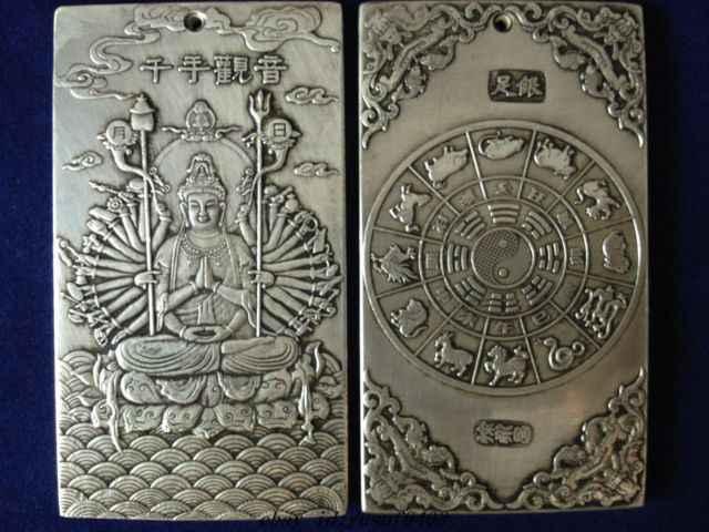 Tua Tibet Silver Guan Kwan Yin Buddha Patung Naga Nepal Thangka Terima Kasih