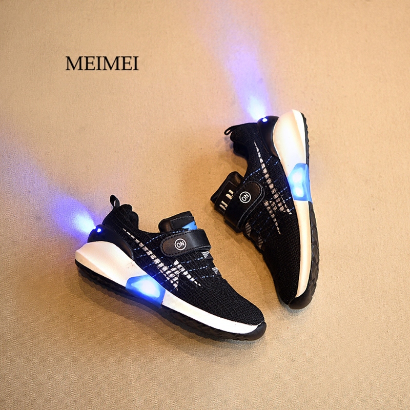 2017 New Fashion knitting running children shoes for girls boys light glowing USB led shoes kids luminous sneakers mesh 25 40 size usb charging basket led children shoes with light up kids casual boys