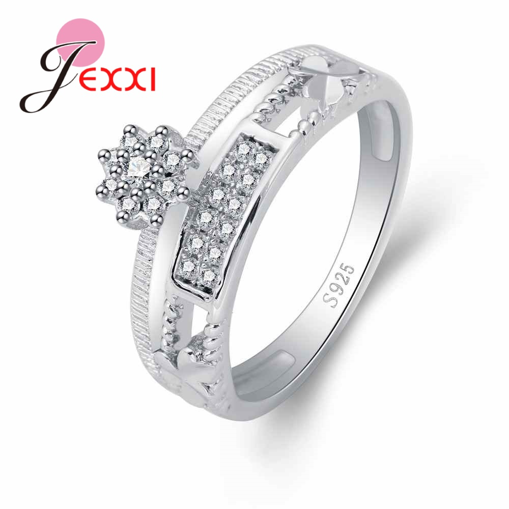 JEXXI New Trend Sunflower Shape Finger Ring Austrian Crystal 925 Sterling Silver Women Female Party Wedding Gift Factory Price
