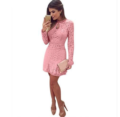Long Sleeve Lace Short   Cocktail     Dresses   Pink Cheap Hot Sale Party   Dress   Gown In Stock DQG539