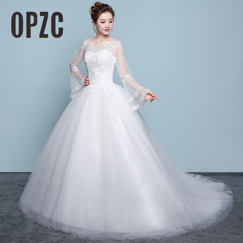 Sexy Cheap Lace Wedding Dress Flare Sleeve Sweetheart Neck Illusion 2020 New Fashion Bride wedding Ball Gown estidos de noivas