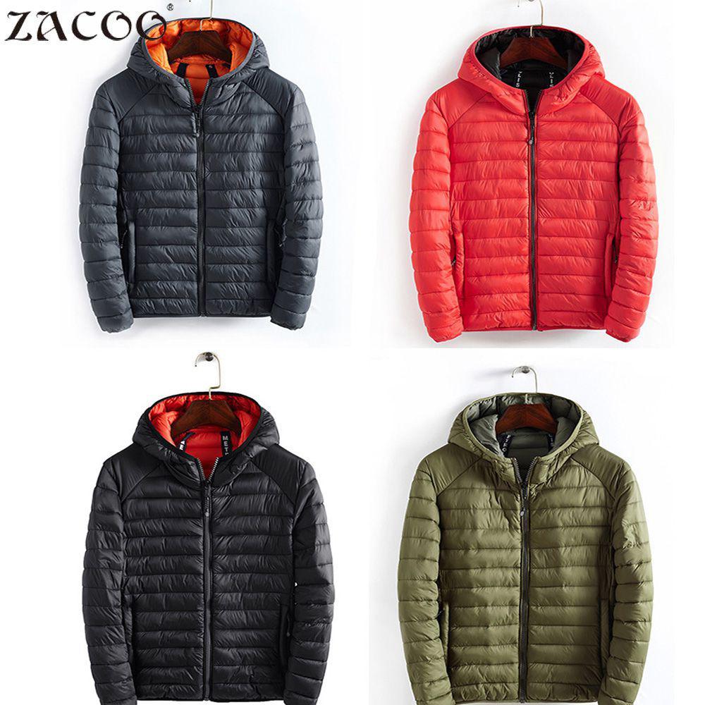 ZACOO Men Portable Parkas More Colors Warm Tops Parkas Concise Lightweight Warm Jackets Hooded Multicolor Cotton Coat for Winter