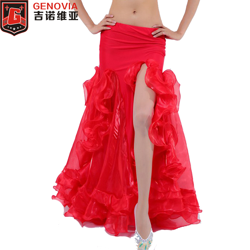 2018 Belly Dance Costume Skirt Dress Waves Skirt Professional Belly Dance Costume Chiffon Skirt Dress Colour