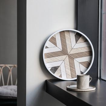 Nordic talerzyk deserowy kawa trójkąt sześciokątny okrągły desery alien półmisek tanie i dobre opinie ROUND Drewna Geometryczny Wzór