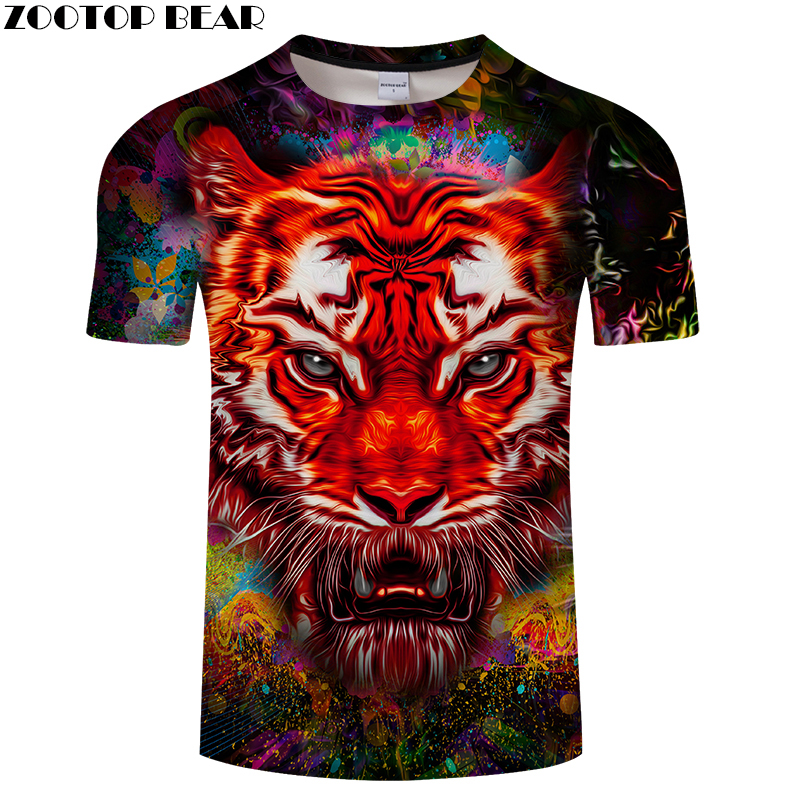 Tiger T shirt Men Women t shirt Printed t-shirt 3D Tops Short Sleeve Tees Harajuku Clothing Boy Camiseta New DropShip ZOOTOPBEAR