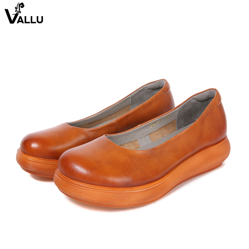 Women' s High Heel Shoes VALLU Latest Design Female Pumps Round Toe Slip On Genuine Leather Lady Platform Shoes