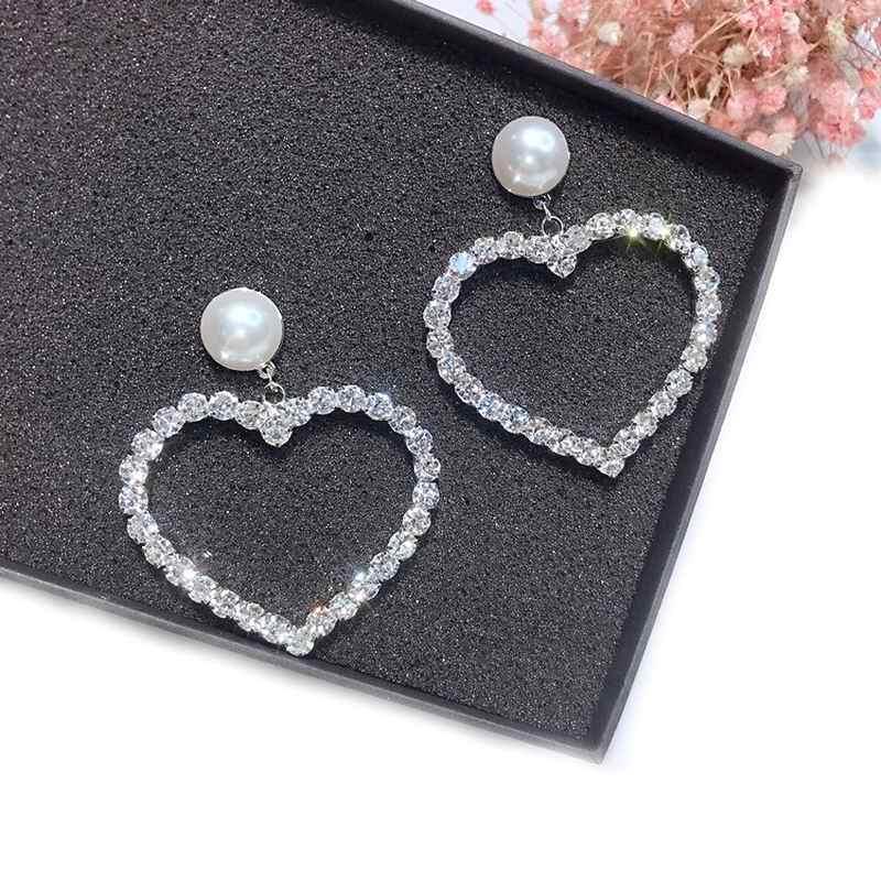Statement Love Heart Big Earrings For Women Bijoux Crystal Drop Dangle Earrings 2019 Fashion Jewelry Korean Style Party Street