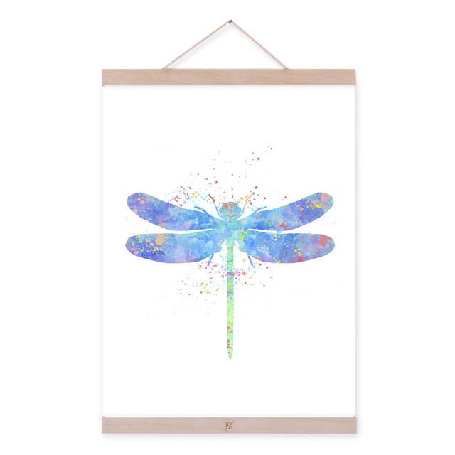 Original Watercolor Dragonfly Kids Room Modern Abstract Hipster Wall Art A4 Large Japanese Poster Prints Canvas