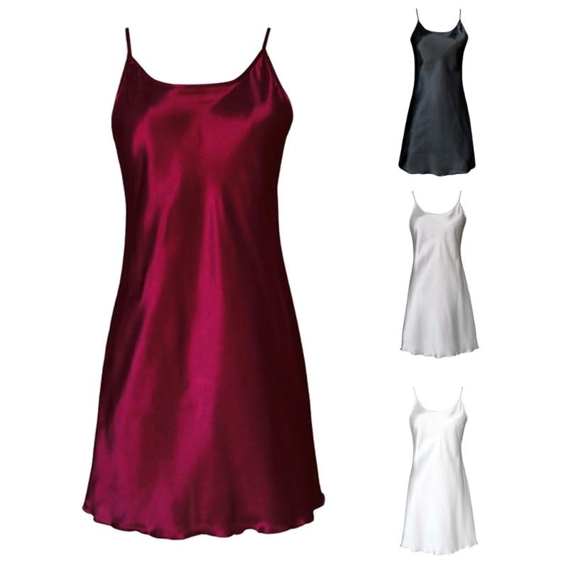 2018 Women's Satin Nightdress Sexy Lotus Hem Sling Dress Chemise Mini Nightgown