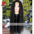 Must Haves 28' Natural Black #2 Color Wig Japanese Hair Loose Curly Weave Glueless Wigs Synthetic Lace Front Wig For Black Women