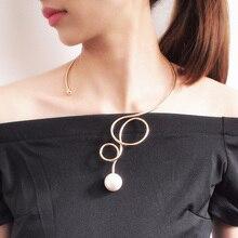 Ожерелье-чокер из сплава с искусственным жемчугом для женщин, модное массивное ожерелье из сплава с большим воротником, ювелирные аксессуары UKMOC