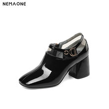 NEMAONE Genuine leather women pumps square toe preppy style wedding party thick high heels brand shoes large size 43