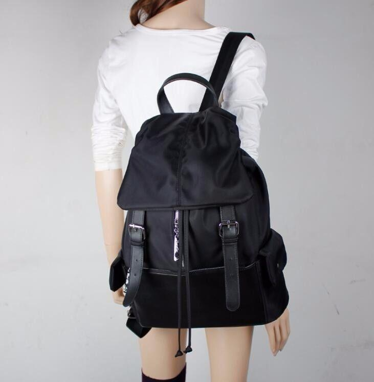 Retro women s nylon waterproof backpack travel shoulder bags rucksack bookbag