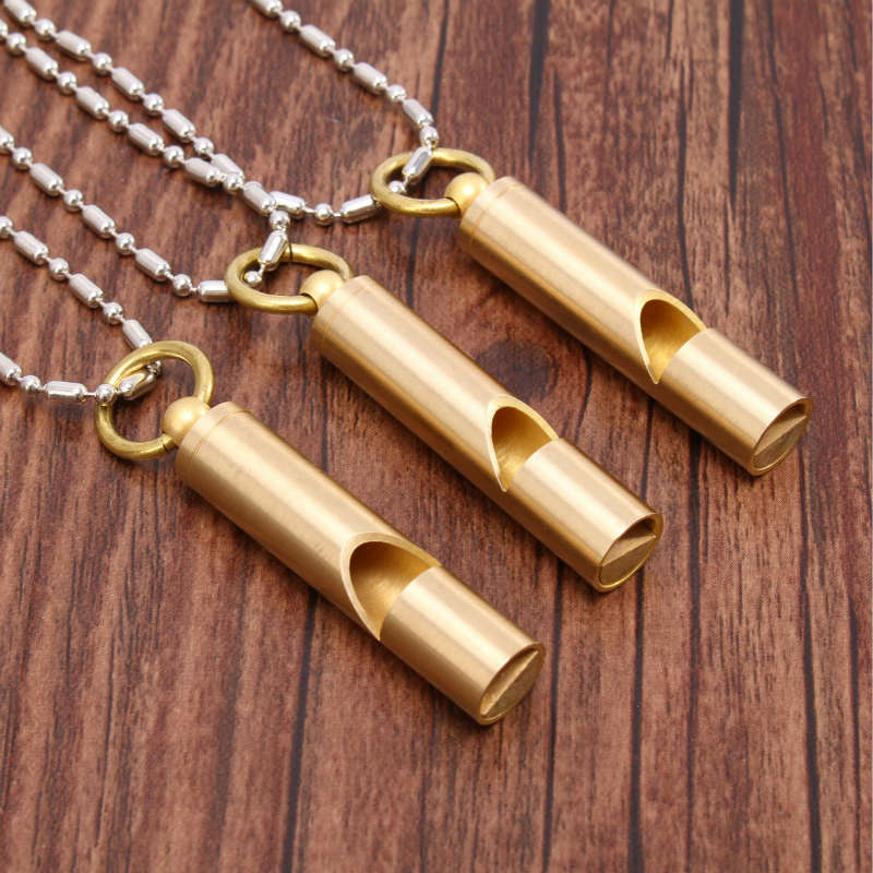 Copper Material Handmade Outdoor Camping Adventure Survival Whistle Children Whistle Treble Training Game Survival Equipment