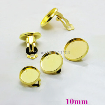 10mm New Gold tone Plated Blank Bases Round Bezel Cabochon Settings Clip Earrings Blank Findings Wholesale