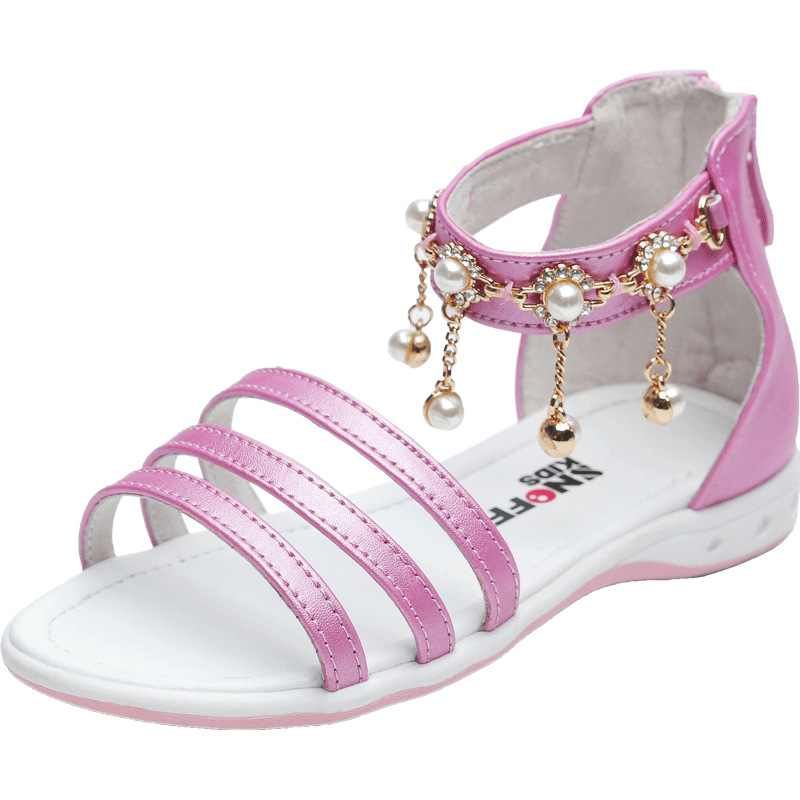 ФОТО 2017 New arrival summer girls fashion sandals children's flat shoes gril high quality sandals princess luxurious