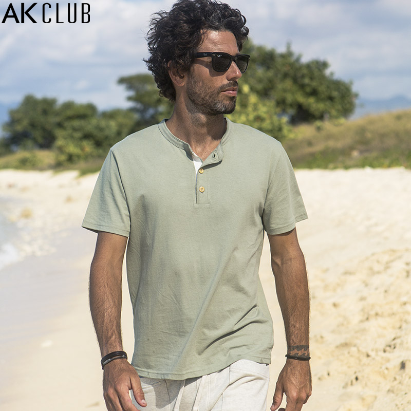 AK CLUB Brand T-shirt Cuba Libre Henry Collar Tshirt 100% Cotton Breathable Short Sleeve T Shirt Tops Men Casual T-shirt 1700019