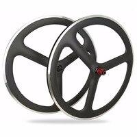 New Design Clincher Carbon 23mm width Aluminum Braking Surface Road/Track/Fixed Gear Wheelset carbon tri spoke wheels 700c