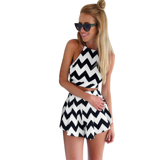 Sexy Black and White Striped Women Sleeveless O-Neck Cross Bandage Jumpsuit Slim Club Two-Piece Backless Short Playsuit