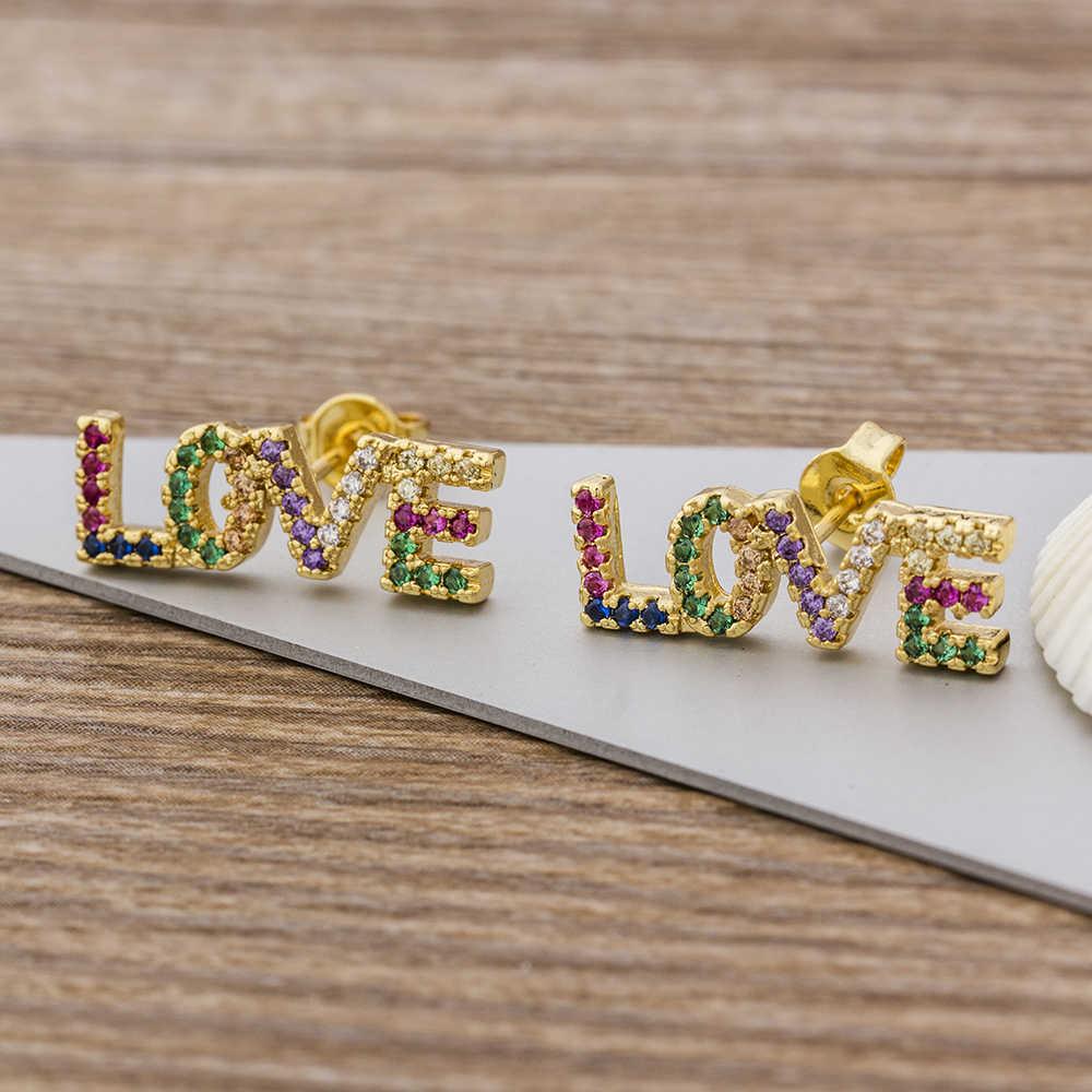 Chất Lượng hàng đầu Cao Cấp Đồng AAA CZ Bông Tai Đinh Bộ Trang Sức Tình Yêu Lãng Cho Nữ Bé Gái Thời Trang Mới Sinh Nhật Quà Cưới