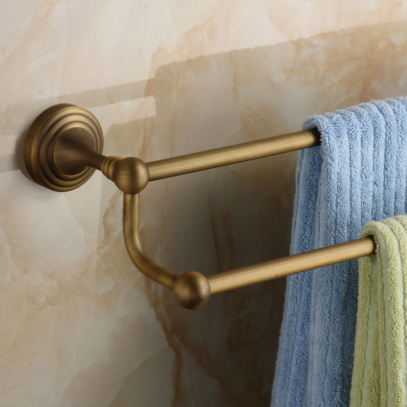 Antique Bronze porte-serviettes Rack luxe brosse en laiton massif porte-serviettes 2 couches mural accessoires de salle de bain