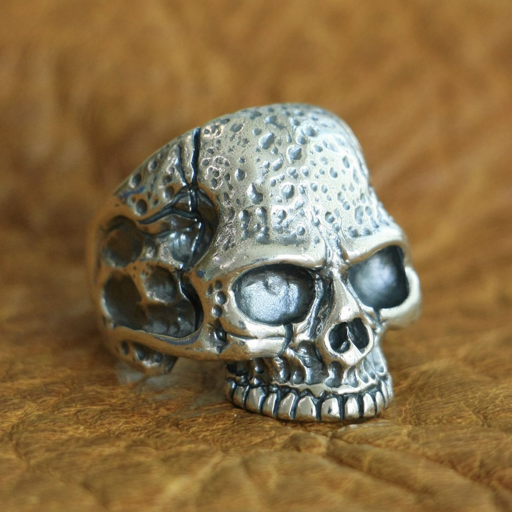 LINSION 925 Sterling Silver High Details Skull Ring Mens Biker Punk Ring TA118 US Size 7~15 925 sterling silver high details skull ring mens biker punk ring ta118a us 7 15