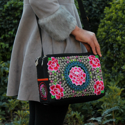 National Embroidery Shopping Handbag!Hot Floral Embroidered Three-Zipperr Bags Ethnic National Top Bohemian Lady Canvas Carrier