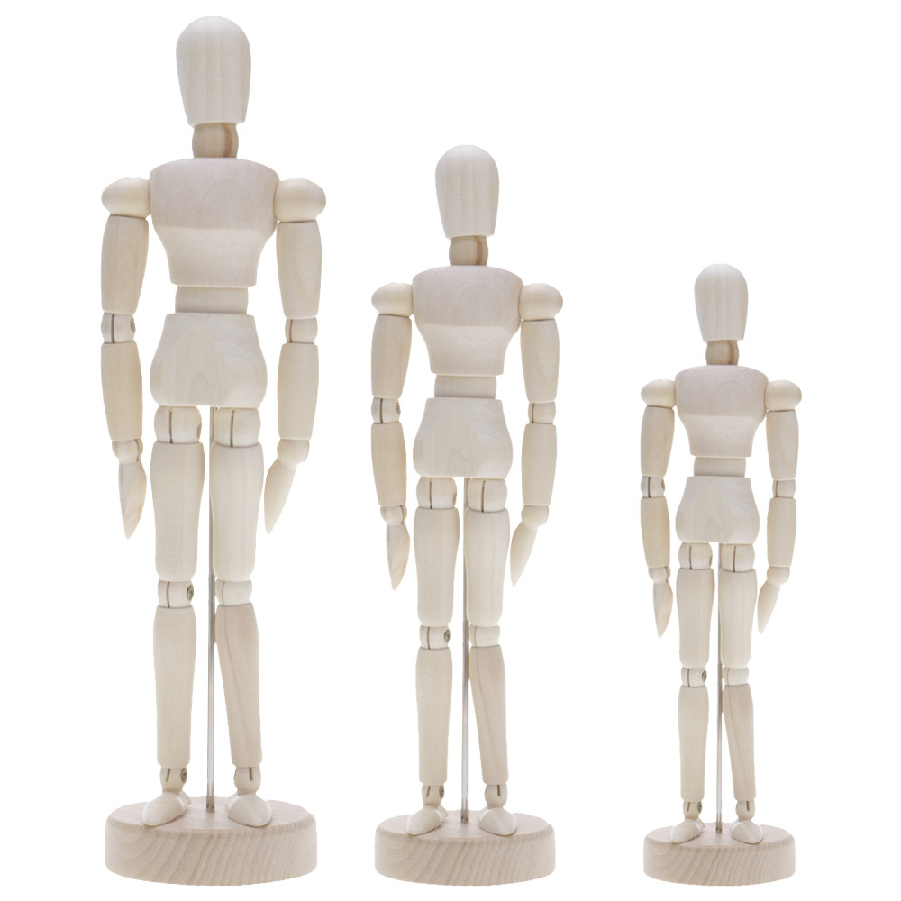 Wooden Movable Limbs Human Figure Model Artist Sketch Draw Model 11.4/14/20cm