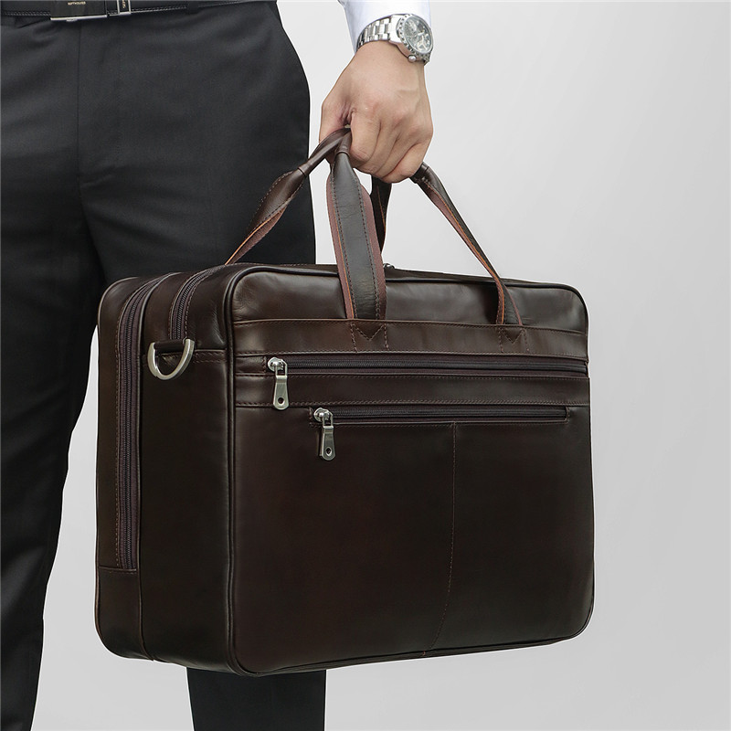 Nesitu Big Black Coffee Genuine Leather 14'' 15.6 Laptop Men Briefcase Men's Portfolio Office Male Shoulder Messenger Bag M7319