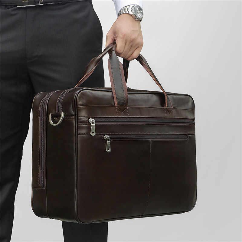 "Nesitu Big Black Coffee Genuine Leather 14'' 15.6"" Laptop Men Briefcase Men's Portfolio Office Male Shoulder Messenger Bag M7319"
