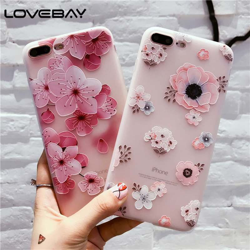 Lovebay Phone Case For Iphone X XR XS Max 8 7 6 6S Plus Fashion Retro 3D Flower Patterned Soft TPU Back Cover Cases For Iphone 8