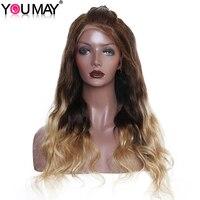 T4/27 Ombre блондинка натуральные волосы парики для Для женщин 250% плотность Синтетические волосы на кружеве парики с ребенком волос предварител