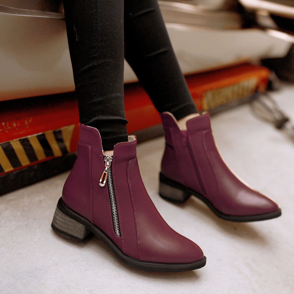 82c32cb67 Ankle Boots For Women Boots Square Heels Pointed Toe Botas Women Winter  Shoes Platform Martin Motorcycle Boots Female SND 159-in Ankle Boots from  Shoes on ...