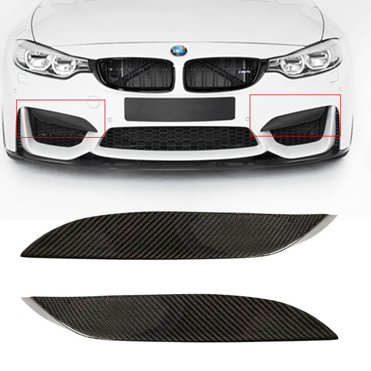 Universal Car Front Bumper Lip Fit For BMW F80 M3 CF Real Carbon Fiber Upper Side Splitter Canards Lip Front Bumper Protector 5pcs android tv box tvip 410 412 box amlogic quad core 4gb android linux dual os smart tv box support h 265 airplay dlna 250 254