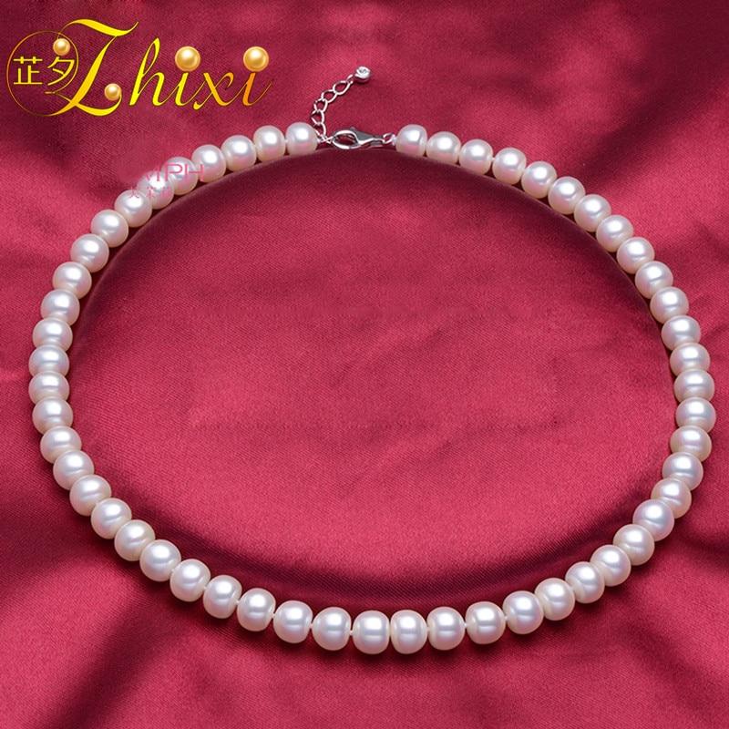 ZHIXI Collar de Perlas Grandes Joyería Fina Real Collar de Perlas de Agua Dulce Clásico Blanco Natural Piedra Colar 43 cm Para Mujeres F001