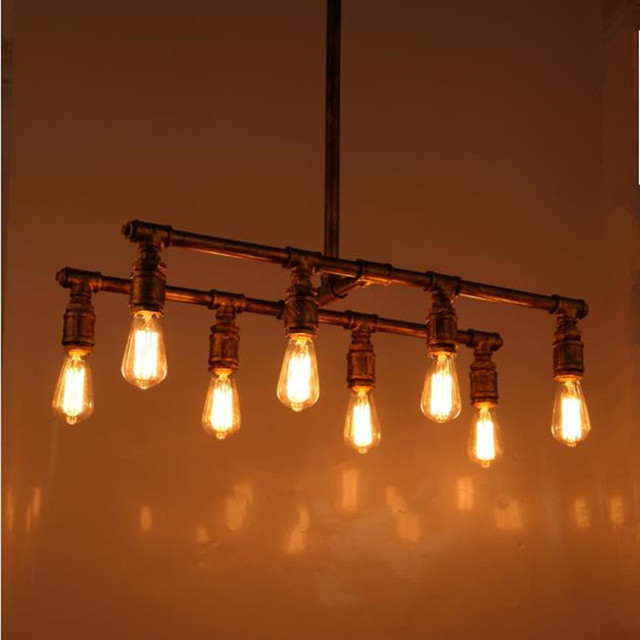 loft vintage 8 lamps industrial water pipe pendant light bar lamps edison pendant lamp antique