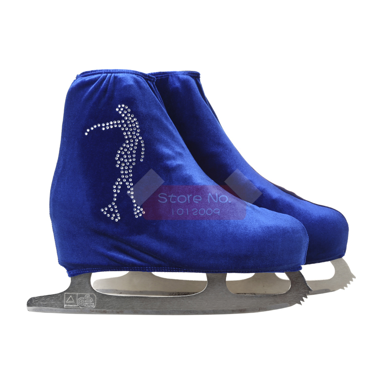 24 Colors Child Adult Velvet Ice Skating Figure Skating Shoes Cover Roller Skate Fabric Accessories White Skater 3 Rhinestone 41