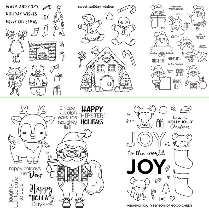 Christmas Day Graphic View Transparent Silicone Stamp DIY Scrapbook / Album Decoration Card Making Supplies