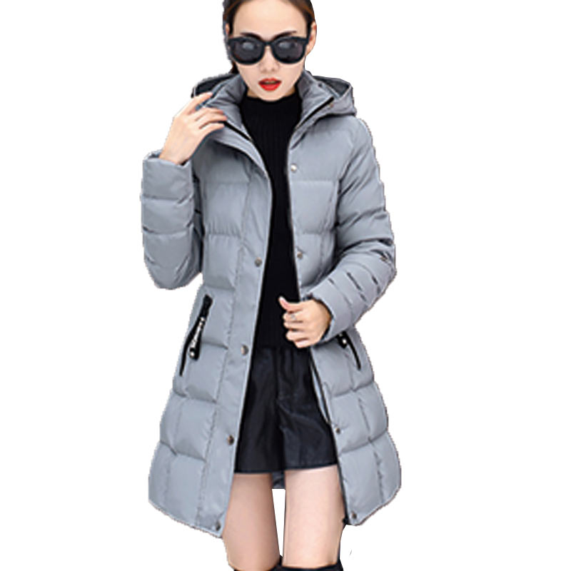 Winter Women Plus Size Cotton Jacket 2017 New Hooded Long Paragraph Loose Lattice Coat Parkas Casual Ladies Wadded Overcoat Z140 2017 new winter women wadded jacket outerwear plus size hooded loose thickening casual cotton wadded coat parkas student ws299
