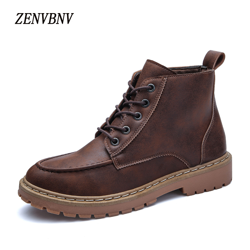 ZENVBNV British Retro Boots Men Leather Brown Motorcycle Boots 2017 Lace Up Casual Shoes Male Fashion Buckle Quality Zapatillas
