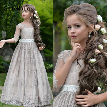 Gray Flower Girl Dresses for Wedding Lace Princess Floor Length A Line Long Sleeves Pageant Party Gown For Kids Birthday Gown
