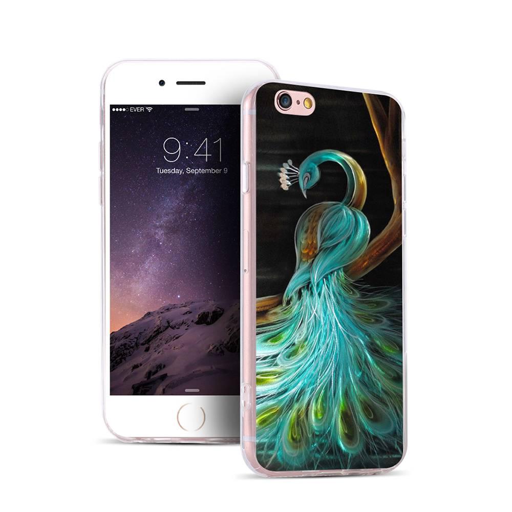 Чехол пластиковый с индивидуальным дизайном «Павлины» для iPhone